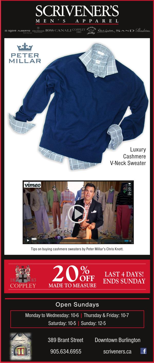 Peter Millar Cashmere Sweaters at Scrivener's