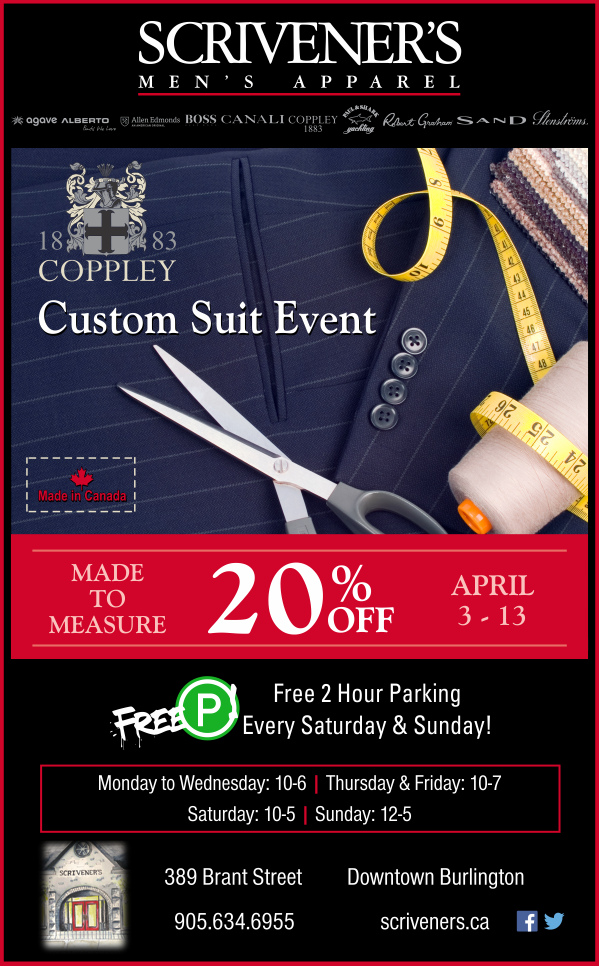 Coppley Made to Measure Suit Event at Scrivener's April 3-13, 2014