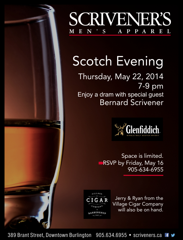 Scotch Evening at Scrivener's with special guest Bernard Scrivener