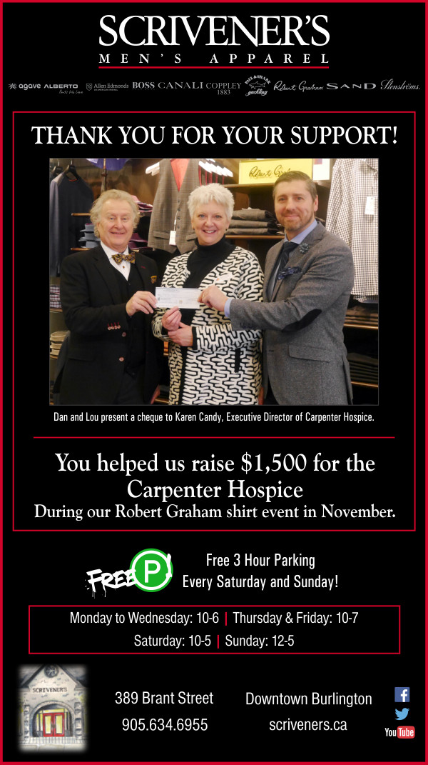 Scrivener's Carpenter Hospice donation.