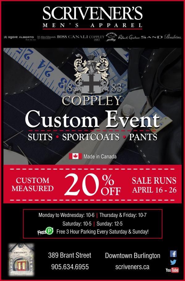 Coppley Custom Event April 16-26, 2015 at Scrivener's