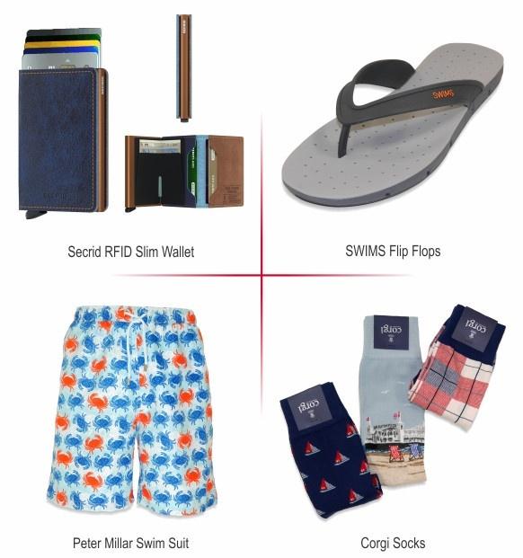 Gifts - Secrid Wallet, Swims Flip Flop, Peter Millar Swim Suit, Corgi Socks