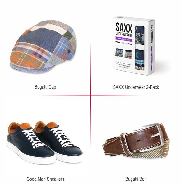 Gifts: Bugatti Cap, Saxx Underwear, Good Man Sneakers, Bugatti Belt