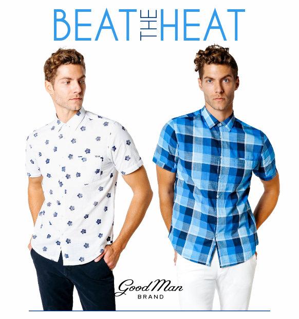 Beat the heat with Good Man Brand short sleeve shirts.