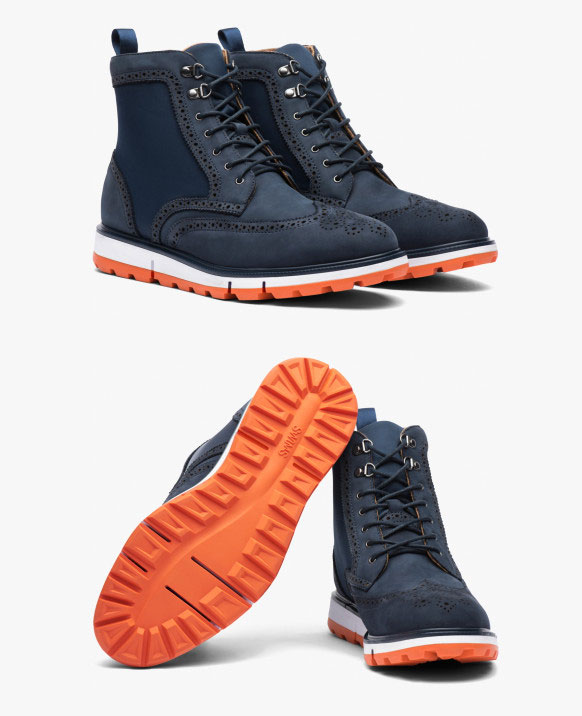 Swims Motion Wing Tip Boot - navy and orange