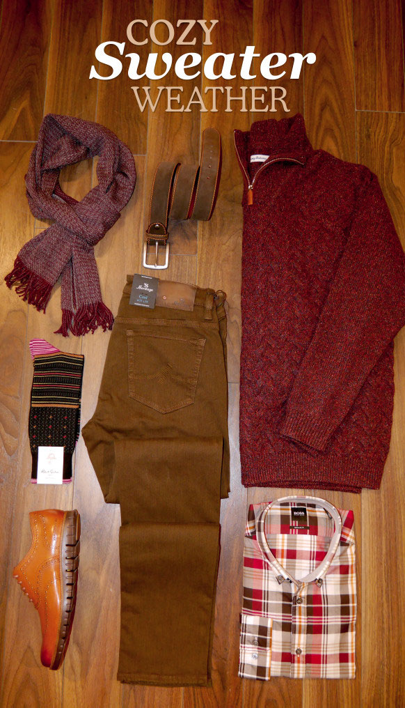 Cozy sweater outfit laydown.