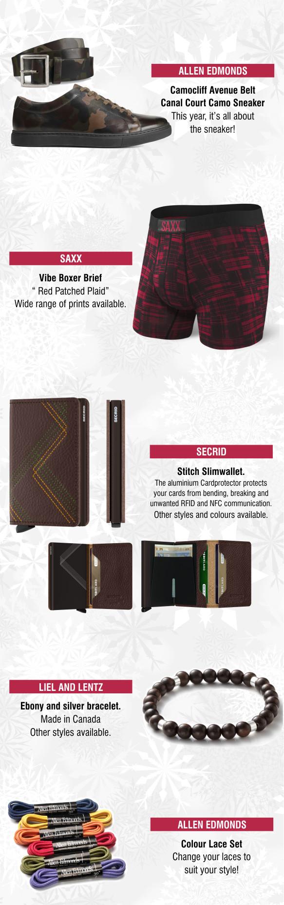 Allen Edmonds belt and shoes, Saxx underwear, Secrid wallet, Liel and Lentz bracelet, Allen Edmonds coloured laces - gift items