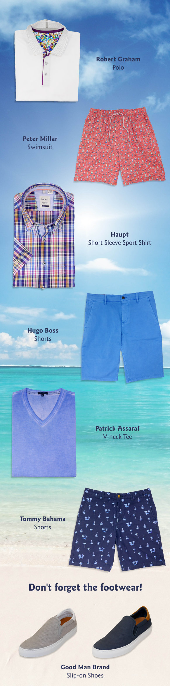 Tropical background with clothing items from some of our most popular brands.