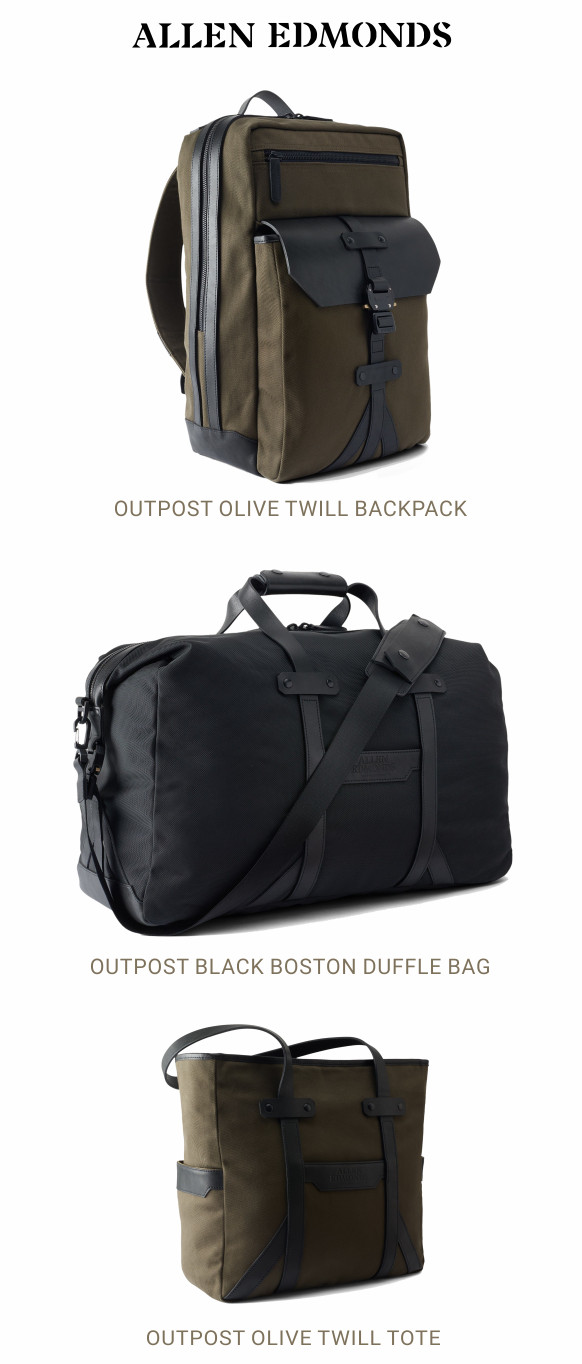 Allen Edmonds bags - Outpost Backpack, Boston Duffle bag and Tote