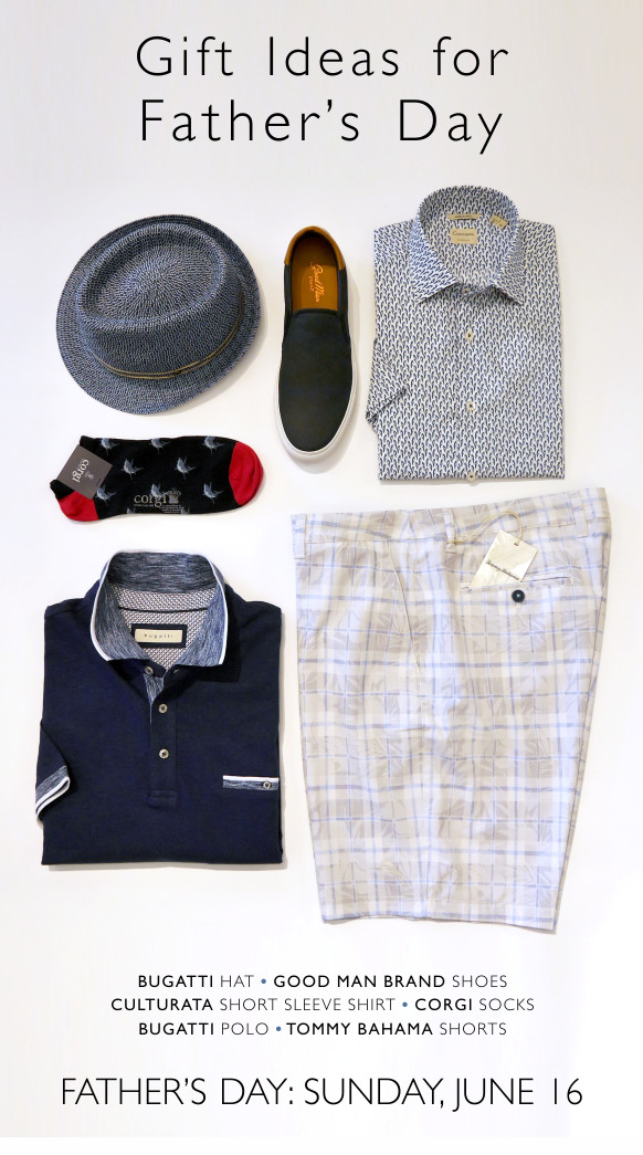 A lay down of great items for Dad from Bugatti, Culturata, Corgi, Good Man Brand, and Tommy Bahama