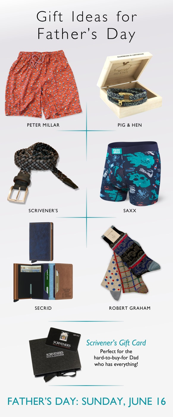 Father's Day gifts from Peter Millar, Pig & Hen, Scrivener's, Saxx, Secrid and Robert Graham