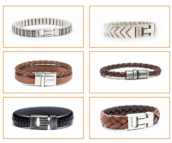 Selection of Josh bracelets with leather and silver bands