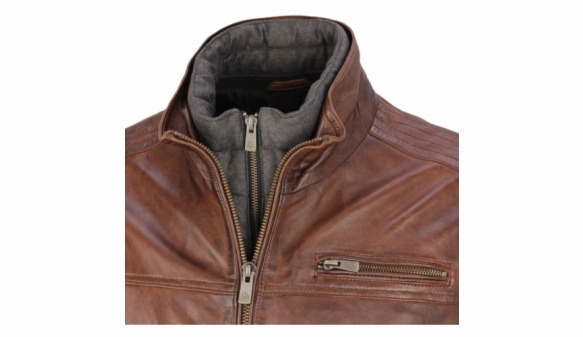 Milestone leather jacket neck detail