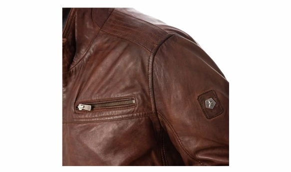 Milestone leather jacket shoulder detail