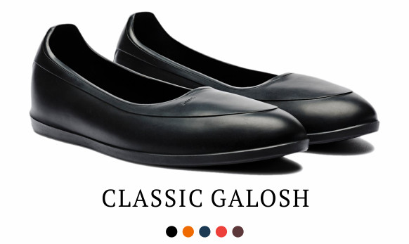 The Classic Galosh by Swims. Available in black, orange, navy, red, and brown.