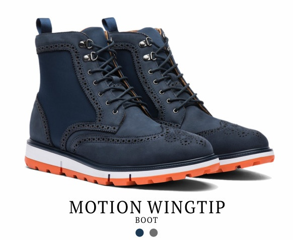 The Motion Wingtip Boot by Swims. Available in navy and grey.