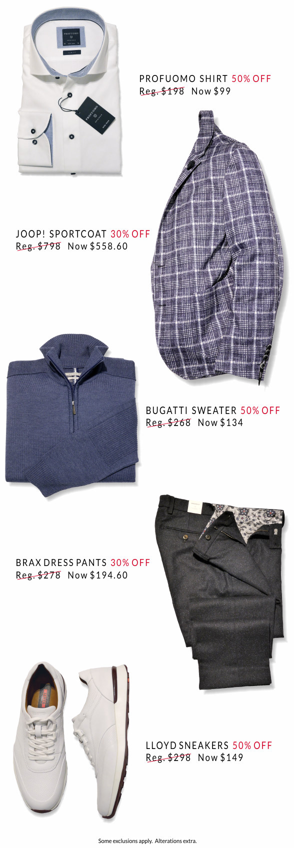 Images of shirt, sportcoat, sweater, pants, shoes with savings of 30 to 50 percent