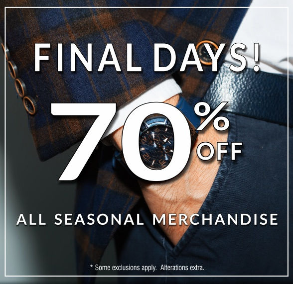 Final Days of our Winter Sale - 70 percent off seasonal merchandise